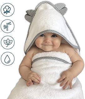 Kapuzenhandtuch Baby bestickt mit Namen//Geburtsdatum f/ür Jungen und M/ädchen wei/ß//grau GRATIS Waschlappen Kinderhandtuch aus 100/% Bambus zur Taufe Baby Handtuch personalisiert Geburt 100x70cm