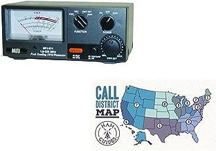 MFJ SWR Meter, 1.8-525MHz, 5/20/200W and Ham Guides TM Pocket Reference Card Bundle