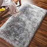 ISEAU Soft Faux Fur Fluffy Area Rug, Luxury Fuzzy Sheepskin Carpet Rugs for Bedroom Living Room, Shaggy Silky Plush Carpet Bedside Rug Floor Mat, 2ft x 4ft, Gray