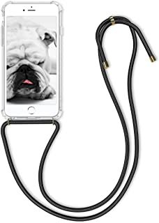 kwmobile Crossbody Case for Apple iPhone 6 Plus / 6S Plus - Clear Transparent TPU Cell Phone Mobile Cover Holder with Neck Cord Lanyard Strap