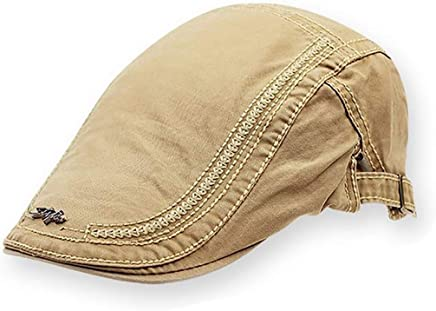 2019 Women Men's Quilted Satin Duck-Billed Newsboy Gatsby Irish Hat Winter Spring Autumn Cotton Adjustable Flat Top Hat (Color : Khaki, Size : M)