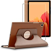 ebestStar - Coque Compatible avec Samsung Galaxy Tab A7 10.4 T505 (2020) Housse Protection Etui PU Cuir Support Rotatif 360, Or/Doré + Film Verre Trempé [Tab S7: 247.6 x 157.4 x 7 mm, 10.4'']