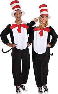 Amscan 9908880 Adult Unisex Cat in Hat Jumpsuit Costume Size Medium, Multi-Coloured