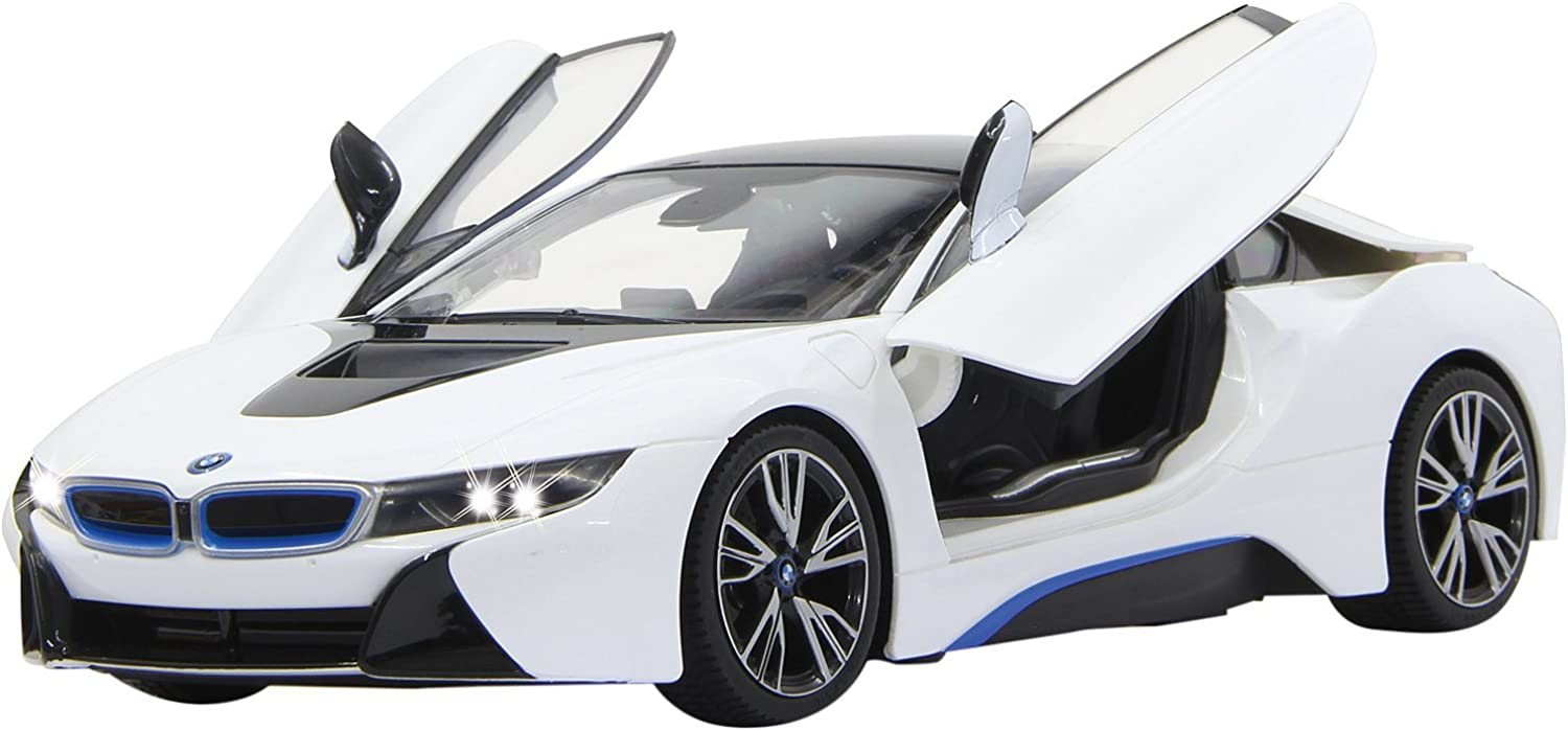 Jamara Jamara405026 27 MHz 1 14 Scale, White BMW i8 Battery Pack Deluxe Car with Manual Door