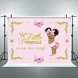 Riyidecor Gold Crown Royal Princess Backdrop Pink Bow Girls Africa Kids Photography Background 7x5 Feet Baby Shower Birthday Geometrical Decoration Newborn Props Party Photo Shoot Vinyl Cloth