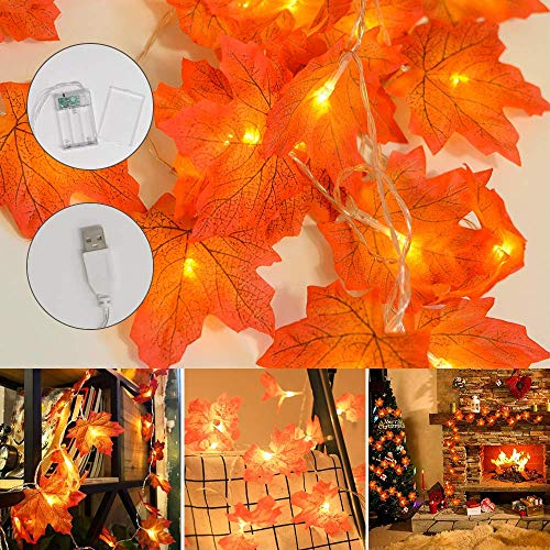 Thanksgiving Maple Leaf String Lights, CNKOBE Autumn Fall Decor Garland Battery & USB 2-in-1, 20 LEDs, 6.56ft Halloween Christmas Twinkle...