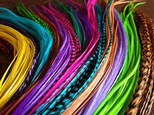 SEXY SPARKLES Lot de 25 plumes en vrac pour extensions de cheveux - 15,2 cm - Mélange arc-en-ciel