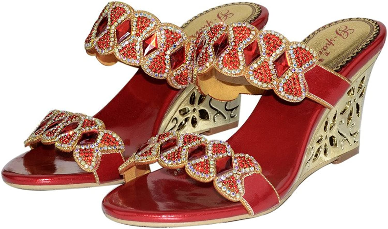 Monie Women's Sparkle Rhinestones Wedding Dress Sandals Handmade Bridal Wedges
