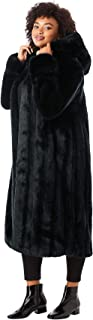 Women's Plus Size Full Length Faux-Fur Coat with Hood