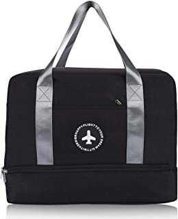 H.K Gym Bag with Shoe Compartment and Wet Pocket Sports Duffel Bags Gym Tote Bag for Man&Women,Black