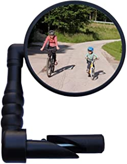 XSafe Bike Mirror Rearview, Handlebar Mount Rear View Mirror Wide Angle, Safety Convex Glass for Mountain Road Bike, Adjustable Rotation 360° Rear-View Mirror