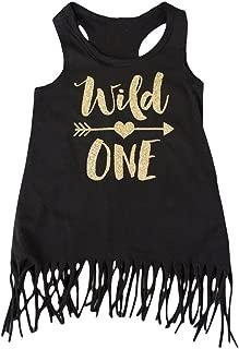 Wild One Girls 1st Birthday Dress Black and Gold Fringe Dress