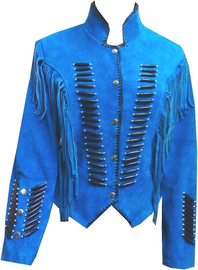 coolhides Unisex Western Suede Leather Coat Fringed & Bones
