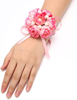 FAYBOX Girl Bridesmaid Wedding Wrist Corsage Party Prom Hand Flower Decor Pack of 2 Pink