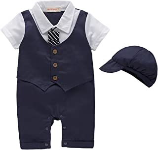 Baby Boys Tuxedos Gentleman Suit Short Sleeve Onesie Vest Party Formal Outfit with Necktie