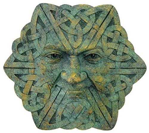TLT 4 Inch Hand Painted Resin Greenman Celtic Face Wall Plaque