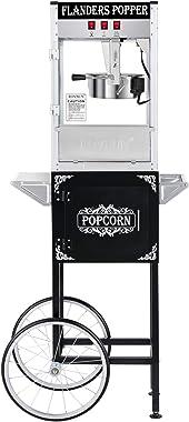 ROVSUN Popcorn Machine w/Cart & Wheels, 8 Ounce Kettle Popcorn Maker w/Single Door, Popcorn Scoop, Oil Spoon & 3 Popcorn Cups