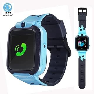 Kids Smart Watch Waterproof Smart Watch for Kids GPS Tracker SOS Camera Alarm Clock Security Zone Voice Chat Math Game Kids-Waterproof-GPS-Smart-Watch Birthday Gift for Boys Age 6-14(Blue)