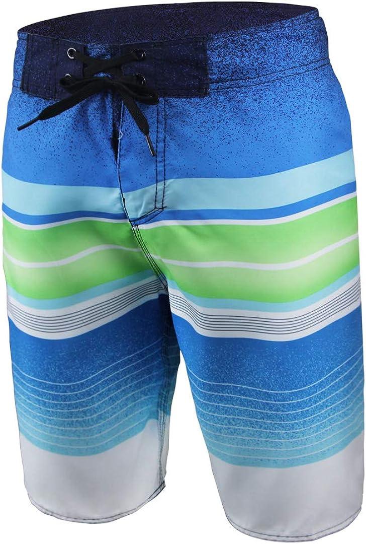 QRANSS Men's Quick Dry Swim Trunks Colorful Stripe Board Shorts