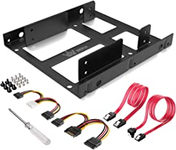 SSD Mounting Bracket, DIERYA 2X 2.5 Inch SSD to 3.5 Inch Internal Hard Disk Drive Mounting Kit Bracket with SATA Data Cables and Power Cables