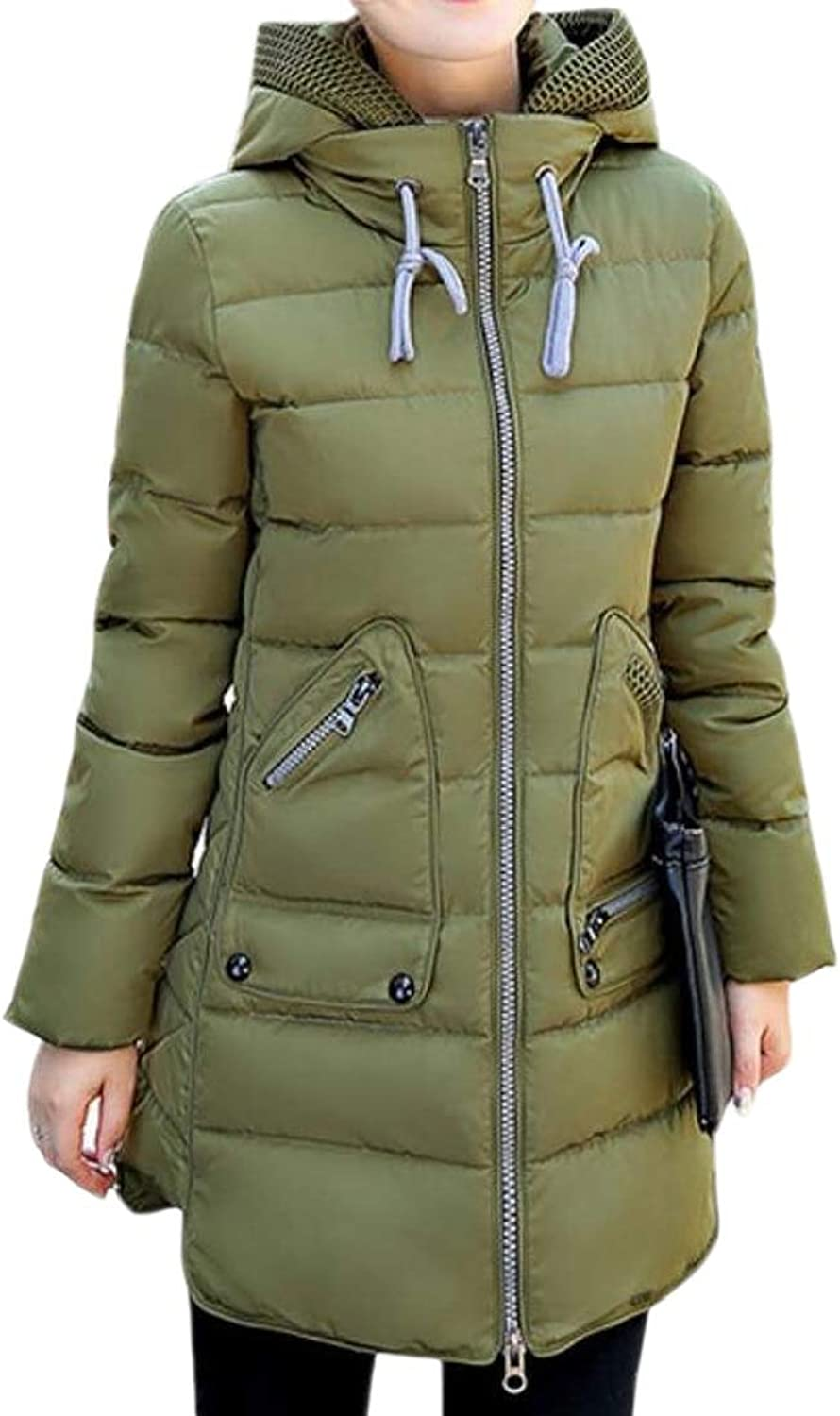 GenericWomen Plus Size Kangaroo Pocket Hooded Mid Length Puffer Coat