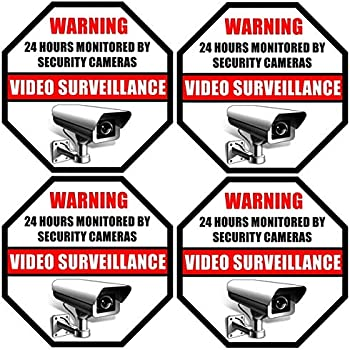 """Printed on Adhesive Side, Outdoor/Indoor (4 Pack) 3.5"""" X 3.5"""" - 24 Hour Monitored By Security DVR CCTV Camera Video Surveillance System - Glass Window Warning Sign Label Sticker - Front Adhesive Vinyl"""