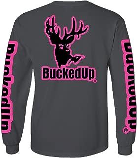 BuckedUp Long Sleeve Charcoal Grey with Pink Logo