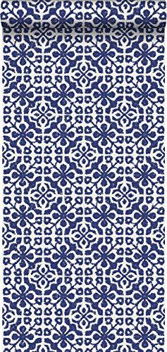 behang verweerde tegels delfts blauw - 128044 - van ESTAhome