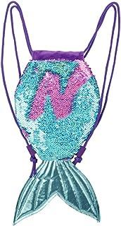 Mochilas Infantiles - WENTS Cola de Sirena Mochila para Niñas, Bolsa con Lentejuelas Reversibles, Mochila Infantil de Cuerdas, Forro de Algodón y Bolsillo Interior, Regalos para Niñas