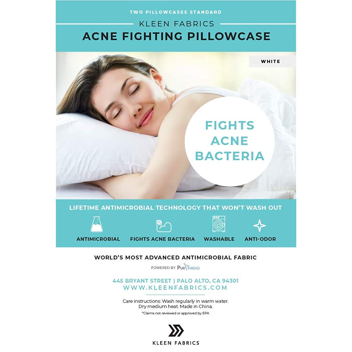 Kleen Fabrics Acne Fighting Antimicrobial Pillowcase with PurThread Silver Technology, White, 2 Standard Pillowcases