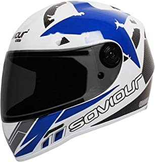 SAVIOUR GTX Corona Full Face Helmets for Mens (ISI Certified) 580 mm-Medium, Plain/Black visor, (BLUE)