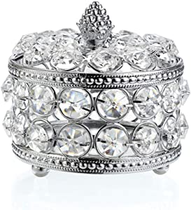 Hipiwe Crystal Mirrored Jewelry Box Jewelry Trinket Organizer Box Home Decor Ring Earrings Necklace Storage Holder Keepsake Box