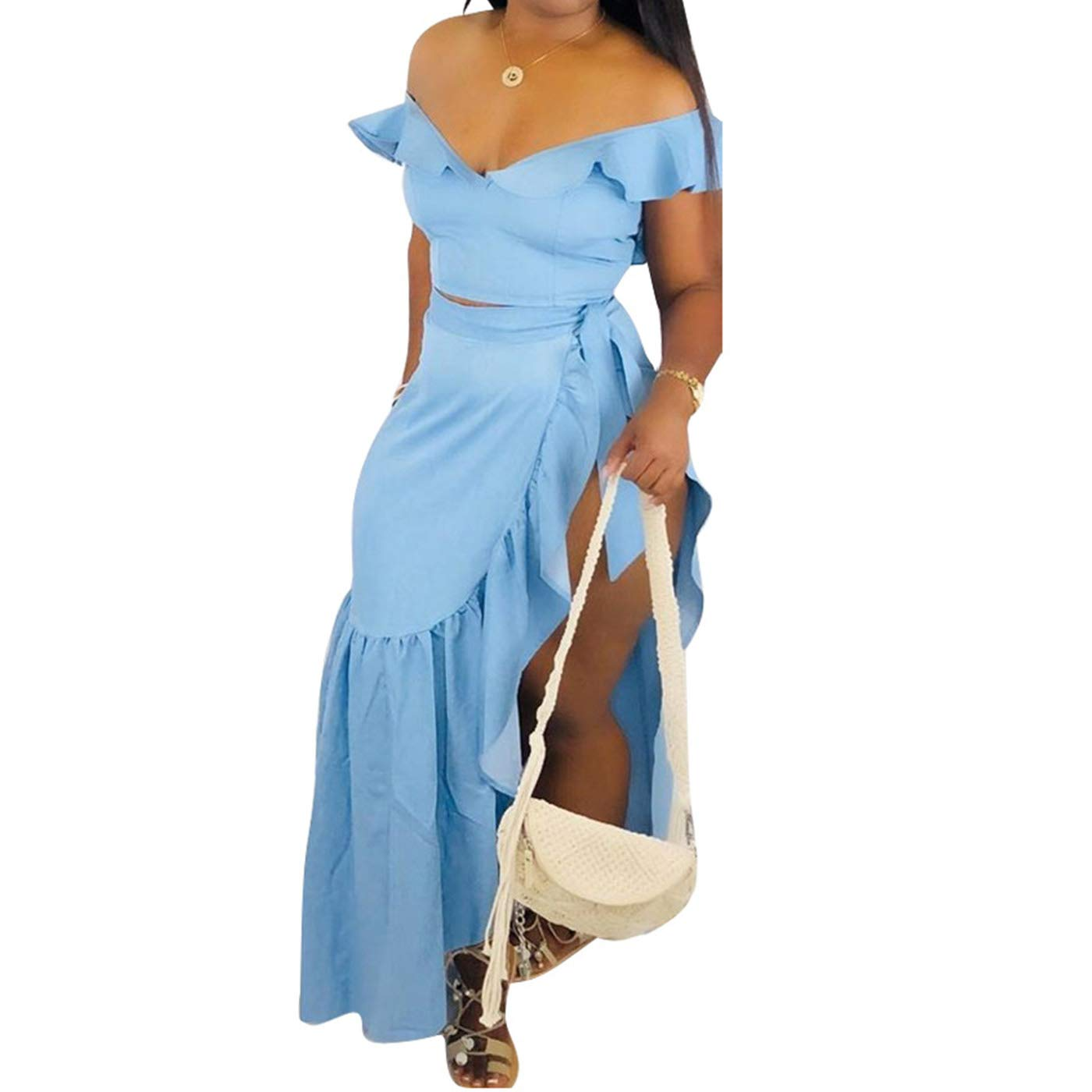 Available at Amazon: Women's 2 Piece Outfits Summer V Neck Off Shoulder Ruffle Beach Crop Top and Slit Skirt Setes