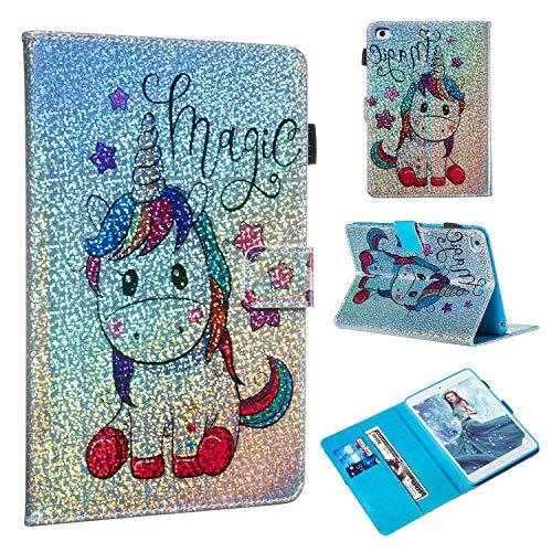 iPad Mini 5 Case,iPad Mini 4 Case, Folice Glitter Bling Kickstand Leather with Magnetic Closure Cover for Apple iPad Mini 1/2/3/4/5 (Shiny Unicorn)