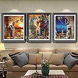 Diamante Dibujo 3pcs / Set Egipto Scenic Triptych Home Decor-3-50x60cm
