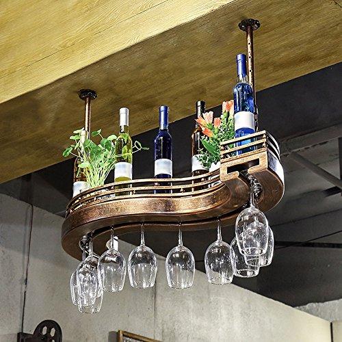 YAXIAO Estante para Vino Colgante De Vidrio para Vino Decoración De Estante para Vino Soporte De Botella De Vino Alto Creativo Botellero de Vino (Size : 60 * 23cm)