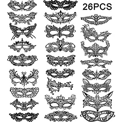 Gejoy 26 Pieces Lace Masquerade Mask Venetian M...