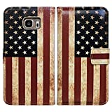 Bfun Packing Bcov Retro American Flag Leather Wallet Cover Case for Samsung Galaxy Note 5