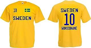 Schweden Herren T-Shirt EM 2020 Wunschname & Nummer Trikot Look Style