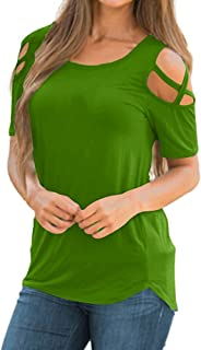 Women Summer Short Sleeve Strappy Cold Shoulder T-Shirt Tops Blouses
