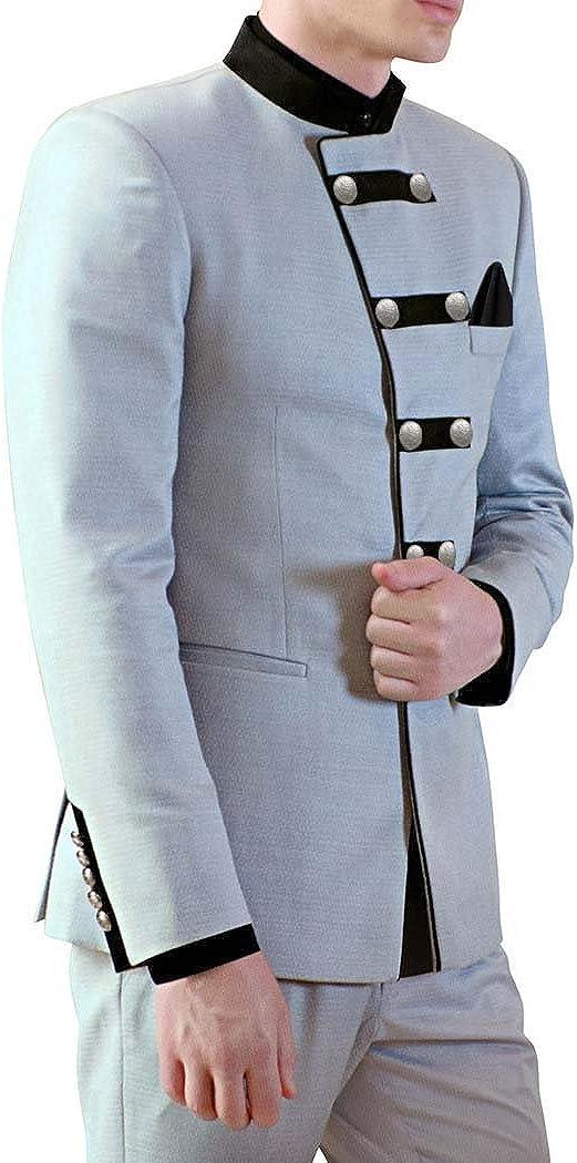 INMONARCH Mens Sky Blue Polyester 3 Pc Jodhpuri Suit Designer JO488