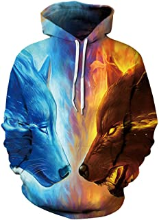WOCACHI Unisex 3D Hoodie Digital Ice Fire Wolf Couples Sweatshirt Christmas Halloween Mens Athletic Hooded Pullover