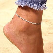Edary Boho Cadena de onda para el tobillo pulsera de tobillo de plata joyería del pie de playa para mujeres y niñas