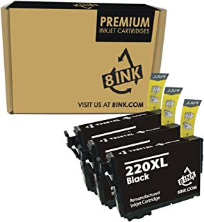 8 Ink Remanufactured High Yield Ink Cartridge Replacement for Epson T220XL Series Printers (3 Black) 3 Pack