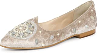 Saint G Womens Beige Hand Crafted Velvet Ballerinas
