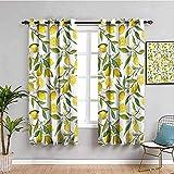 LucaSng Blickdicht Vorhang Wärmeisolierender - Gelb Zitrone Obst Pflanze - 280x200 cm Junge mit...