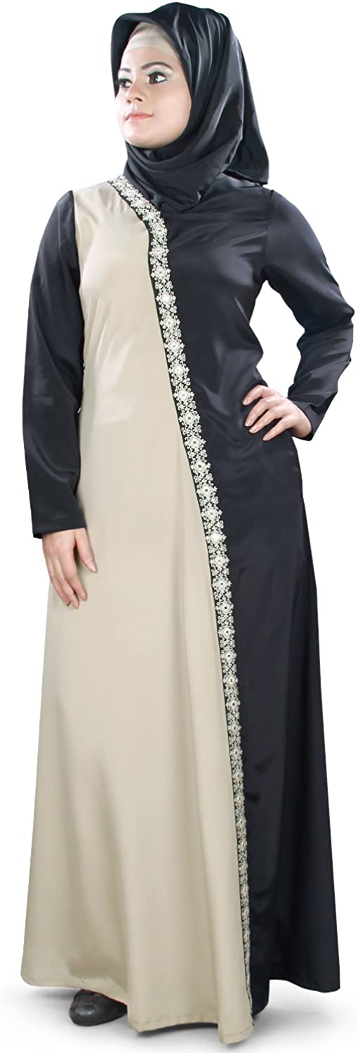 MyBatua Warm Grey & Black Muslim Embroidered Party & Formal Wear Abaya AY399