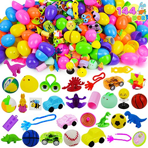 JOYIN 144 PCS Prefilled Easter Eggs with Assorted Toys for Easter Egg Hunt Supplies, Easter Party Favors, Easter Basket Stuffers,...