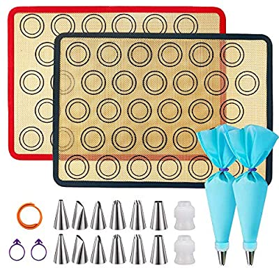 "Silicone Baking Mats, JSDOIN of 2 Half Sheet Silicone Baking Mats, 12 Piping Tip, 2 Piping Bag and 2 Bag Tie - Reusable Nonstick Liners for Food Safe Baking Mat Kit(16""x11.8"")"
