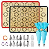 Silicone Baking Mats, JSDOIN of 2 Half Sheet Silicone Baking Mats, 12 Piping Tip, 2 Piping Bag and 2...